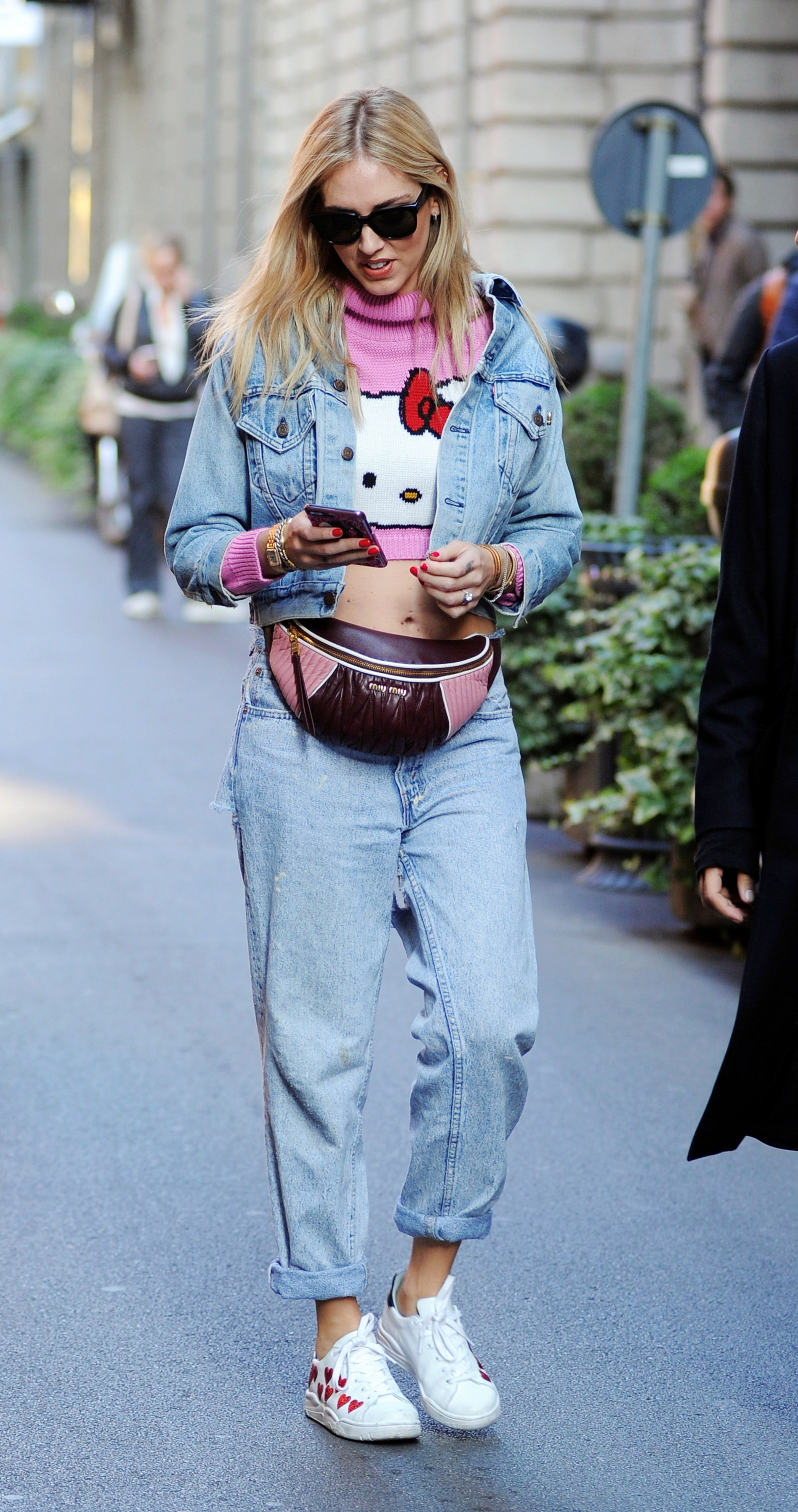 Pregnant Chiara Ferragni in Hello Kitty T shirt and a fanny pack is spotted out and about in Milan, Italy. Pictured: Chiara Ferragni Ref: SPL1614950 031117 Picture by: Splash News Splash News and Pictures Los Angeles:310-821-2666 New York: 212-619-2666 London: 870-934-2666 photodesk@splashnews.com